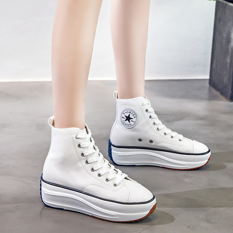 Canvas Shoes Women Trainers Women High Top Sneaker Lady Spring Female Footwear Breathable Girl White Black Sneakers