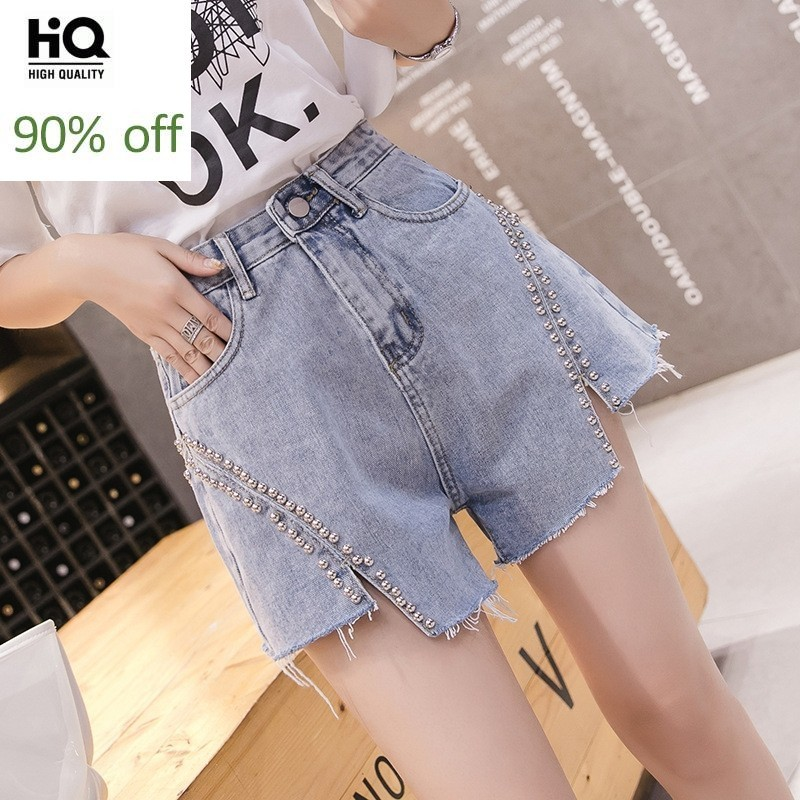 High Waist Denim Shorts Women 2020 New High Street Slim Beaded Irregular Tassel College Hot Pants Casual Wide Leg Shorts Jeans
