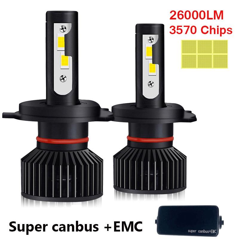 H4 светодиодный H7 светодиодный Canbus 26000LM высокое Мощность фар H1 H3 H8 H9 H11 9005 9006 Hb3 9004 9007 H13 9012 светодиодный лампы Turbo лампы для автомобилей