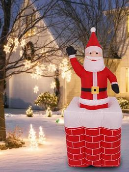 Christmas Inflatable Doll Lifting Chimney Santa Claus Decoration Light Ornaments Christmas Toy Gifts For Indoor Outdoor Decor