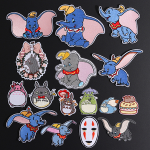 Cartoon Dumbo Elephant Patches Iron On Embroidered My Neighbor Totoro Cloth Appliques 3D Diy Cute Wing of Liberty No Face Badges(China)
