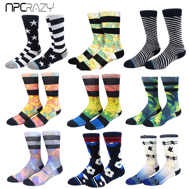 Socks Men Skateboarding Sock 3D Print Basketball Socks Men USA Flag Running Cycling Sock Odd Future Men's Outdoor Sport Meias