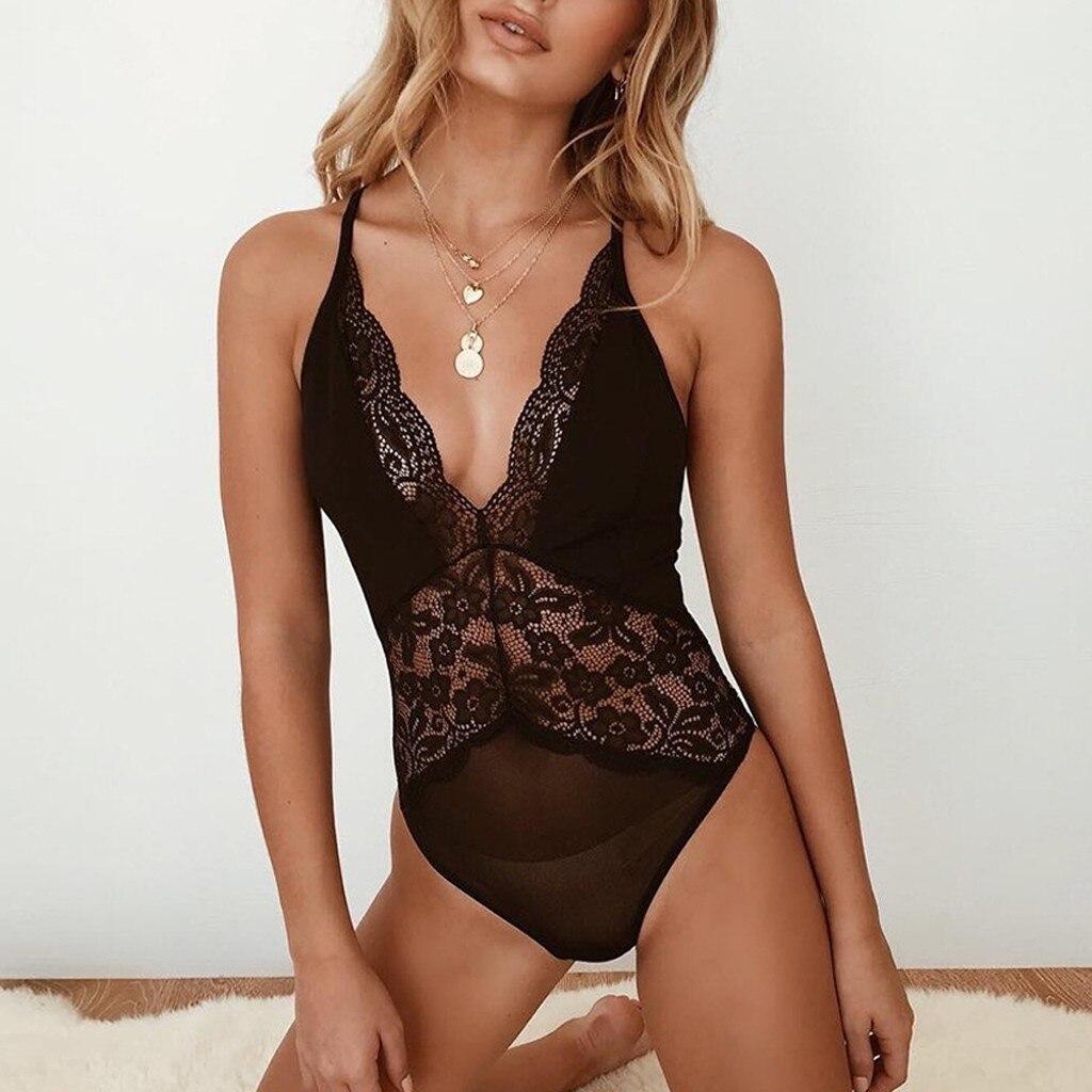 Fashion Sexy Lace Teddy Lingerie Porno Underwear Feminina Deep V Bodydoll Lenceria Mujer Erotic Sleepwear Nightdress Intimates