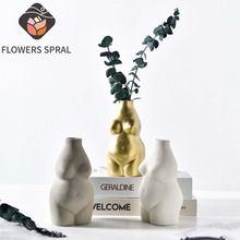 Керамическая ваза бюст для боди арта с засушенными цветами композиции