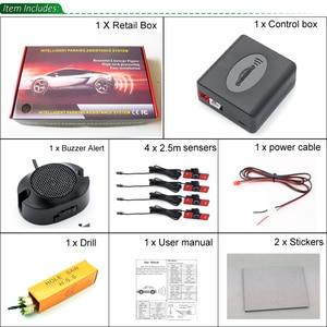 Image 5 - GreenYi רכב חניה חיישן עוזר Parktronics 4 שחור/כסף/לבן 13mm שטוח חיישנים הפוך רדאר קול זמזם מעורר קול