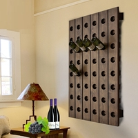 American Wall Mounted Hanging Wooden Wine Holder Rack Creative Wine Bottle Display Rack for Cellar Bar Apartment Holds 8 bottles