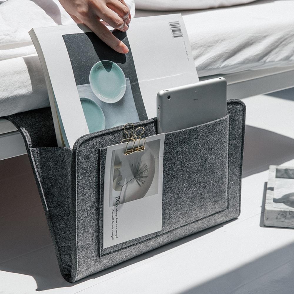 Urijk Storage Pockets Bags Felt Bedside Hanging Storage Organizer Holder With 2 Inner Pockets For Bed Table Sofa Storage Bags