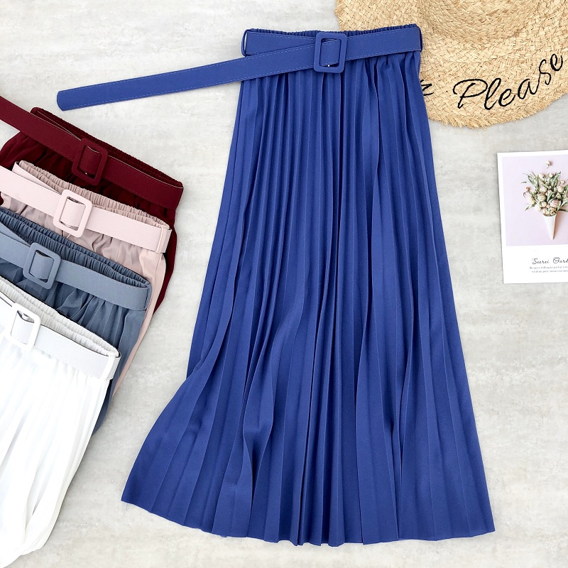 Spring Summer Women Midi Skirts Belt Chiffon Pleated Long Skirts For Women Daily Office Skirts Saia Femme Jupe