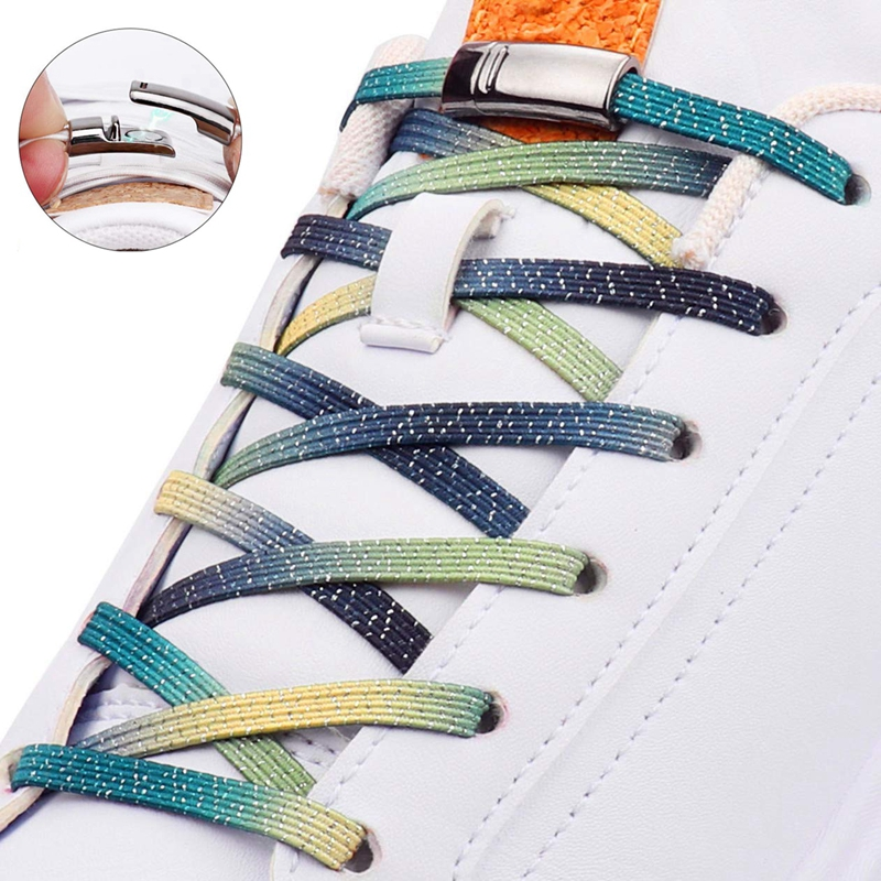 1 Pair Metal Magnetic Buckle Flat Shoelaces Elastic No Tie Shoe Laces For Kids Adult Unisex Sneakers Shoelace Quick Lazy Laces