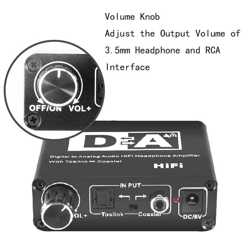 24bit 192khz DAC Amp אודיו דיגיטלי לאנלוגי ממיר אודיו 3.5mm אוזניות מגבר קואקסיאלי RCA פלט מיני Hifi dac