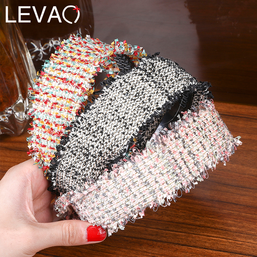 Levao New Weaving Headband For Women Retro Tassel Hairband Wide Handmade Weave Hair Hoop Bands Girls Party Hair Accessories
