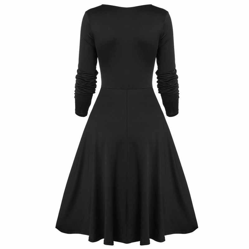 Vintage elbise kadınlar artı boyutu çiçek dantel dikiş düğme ilmek uzun kollu elbise parti elbise sonbahar kış elbise Vestidos 7