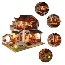 DIY Dollhouse Kit Home Crafts Handmade Assembled Chinese Ancient Building House for Christmas Birthday Valentine's Day Gift