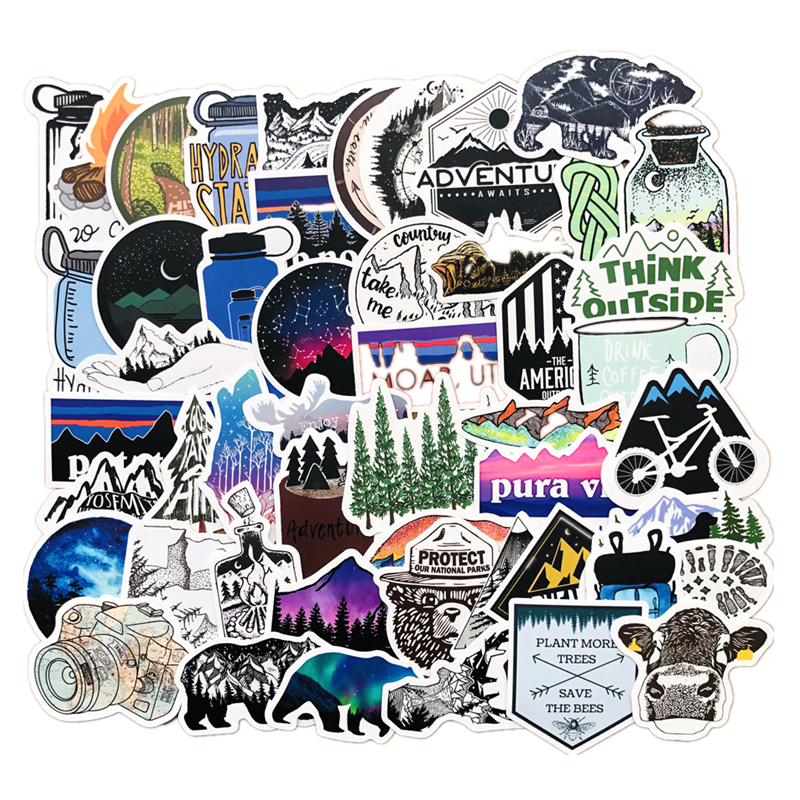 50PCS Outdoor Adventure Hiking Adventure Stickers For Car Styling Bike Phone Motorcycle Laptop Travel Luggage DIY TOY Sticker