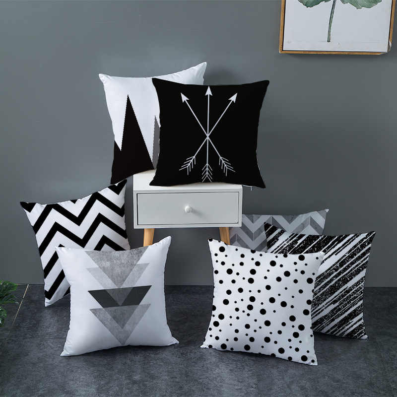기하학적 쿠션 커버 흑백 폴리 에스터 던져 베개 케이스 스트라이프 점선 삼각형 기하학 아트 쿠션 커버