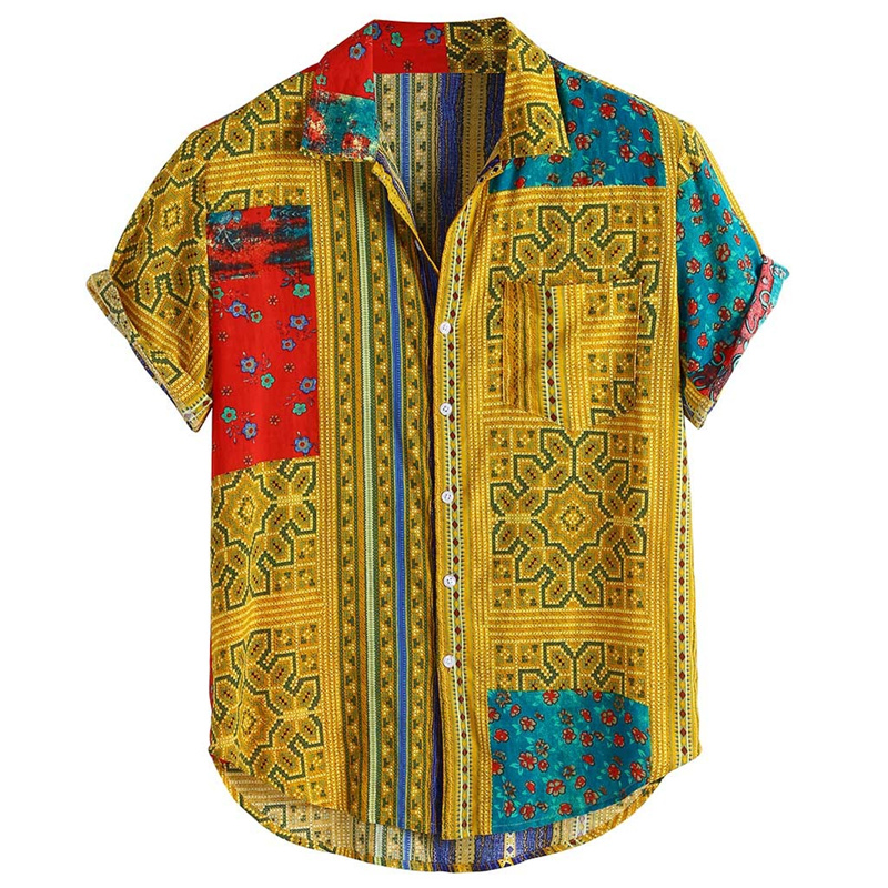 Mens Vintage Ethnic Printed Mens Shirts Big Sizes Turn Down Collar Short Sleeve Loose Casual Silk Shirts Camisas Para Hombre