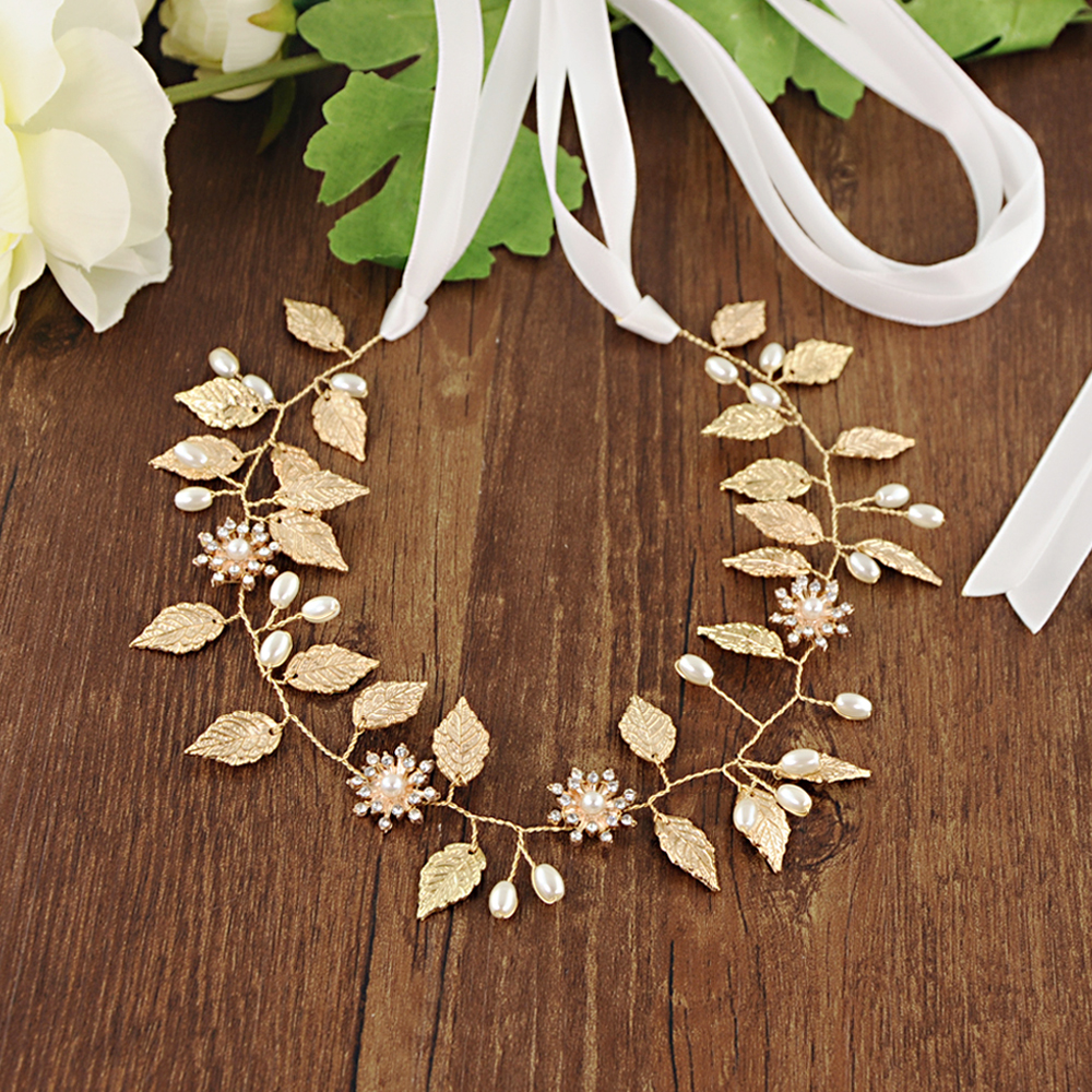 TRiXY SH110 Exquisite Golden Leaf Wedding Belt Sash Floral Bridal Belt Flower Rhinestone Belt for Bridal Wedding Accessories