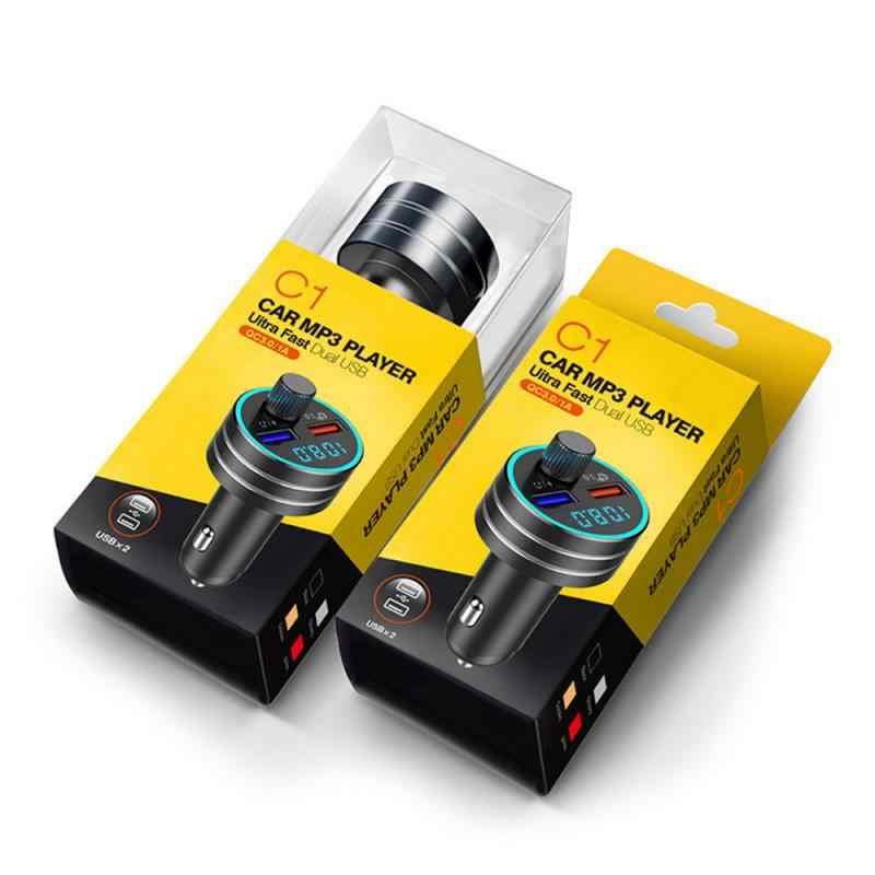 Podwójny USB Smart QC3.0 szybka ładowarka samochodowa Mp3 odtwarzacz nadajnik bluetooth fm odbiornik Dual Usb wielofunkcyjna ładowarka samochodowa