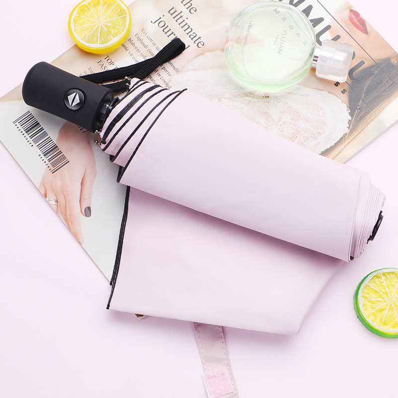 Customizable Solid Color Parasol Vinyl UV-Protection Folding Self-opening Umbrella Three Fold Sun-resistant Umbrella Advertising