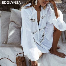 Delle donne del Costume Da Bagno Cover Up Mandarino Manica Caftano Beach Tunica Dress Robe De Plage Solido Bianco di Cotone Pareo Beach Cover-ups # Q429(China)