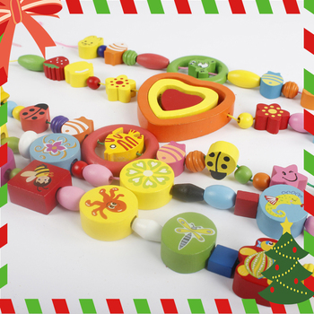 Christmas presents Fashion Colorful Wooden Bead Cute Children Necklace Bracelet Jewelry Set For Party Jewelry Gift Wholesale