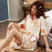 BZEL Fashion Womens Sleepwear Set 100% Cotton Underwear Cute Ladies Pajamas Short Sleeve Shorts Nightwear Home Cloth For Female