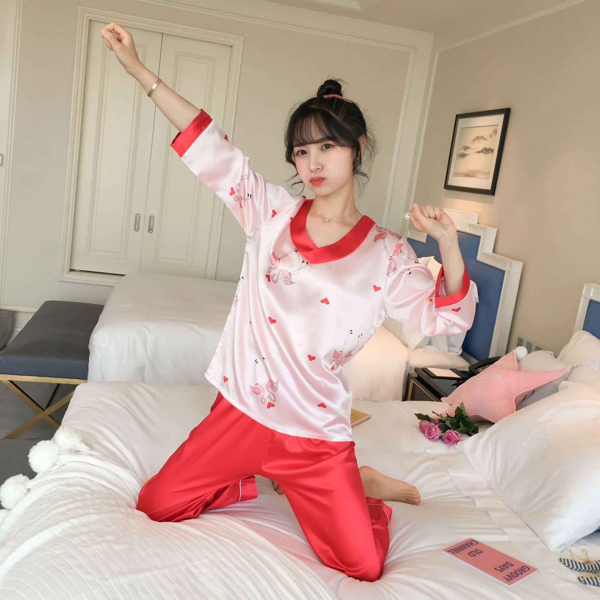 922 # Heart Flamingo Pullover QN Long Sleeve Trousers Pajamas Homewear Set Series