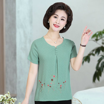 Red Green Flower Embroidery Blouses Women Summer Round Collar Short Sleeve Thin Tops Female O-neck Plus Size Blouse Mother Wear red round neck flared sleeves blouse