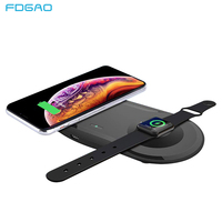 FDGAO 2 in 1 Wireless Charger Pad For Apple Watch 5 4 3 2 Airpods pro Qi Fast Charging Dock Station For iPhone 11 Pro XS XR X 8|Wireless Chargers|Cellphones & Telecommunications -