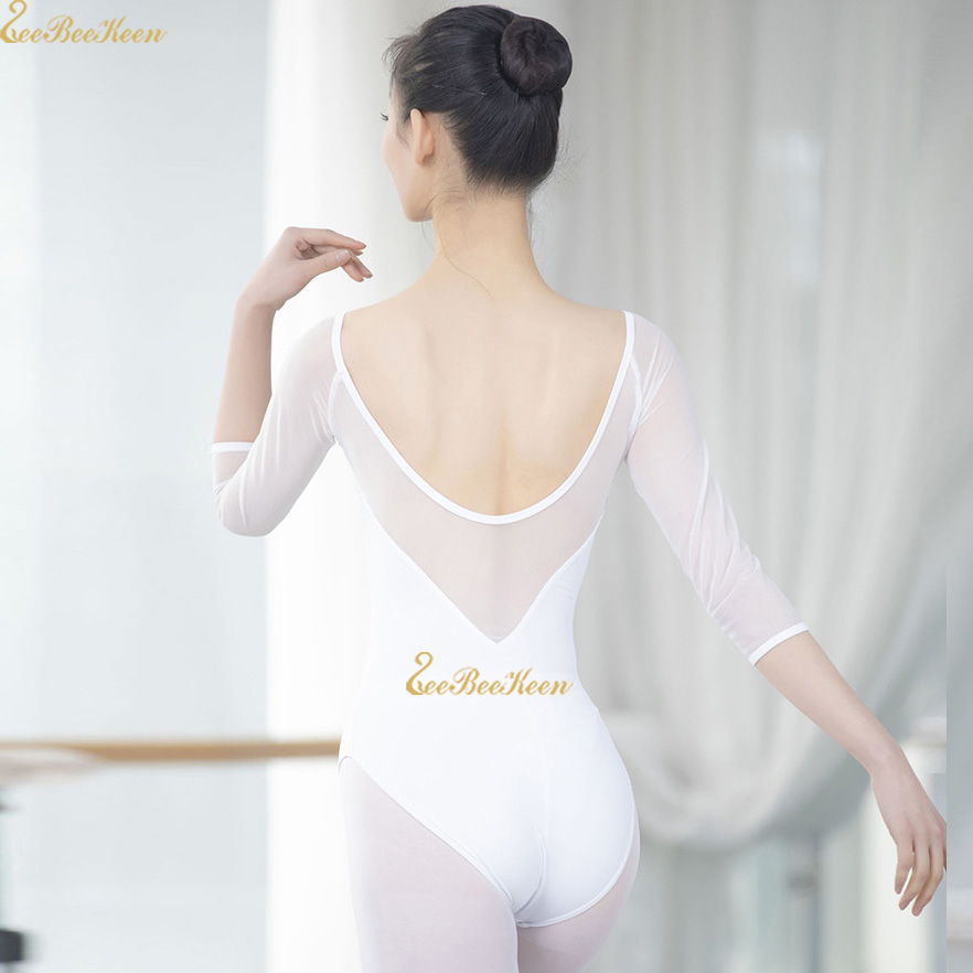White/pink Adult Ballet Leotards Ballerina Mesh Bodysuit Girls Dance Yoga Costume Dance Gymnastic Leotard Women Ballet Clothes