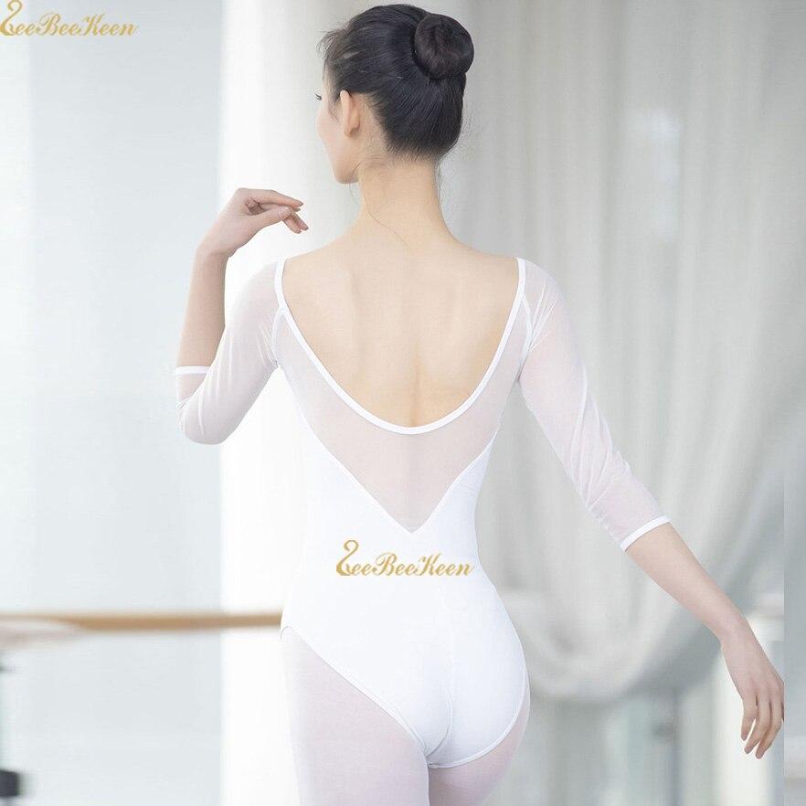 White/pink Adult Ballet Leotards Ballerina Mesh Bodysuit Girls Dance Yoga Costume Dance Gymnastic Leotard Women Ballet Clothes