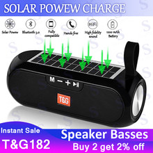 Portable Solar charging Bluetooth Speakers Column Wireless Stereo Music Power Bank Boombox waterproof AUX FM radio super bass