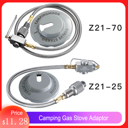 CAMPINGMOON Camping Gas Stove Adaptor Flat Gas Tank Connection Wire with Valve Flat Gas Tanks Connection Line Camping Supplies