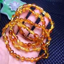 7mm Genuine Natural Amber Blood Red Yellow Gemstone Oval Beads Bracelet Healing Stone Fashion Women Men Jerwelry AAAA