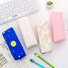 Summer New Creative Student Stationery Star Zipper Pencil Bag Multifunctional Large Capacity Canvas Box