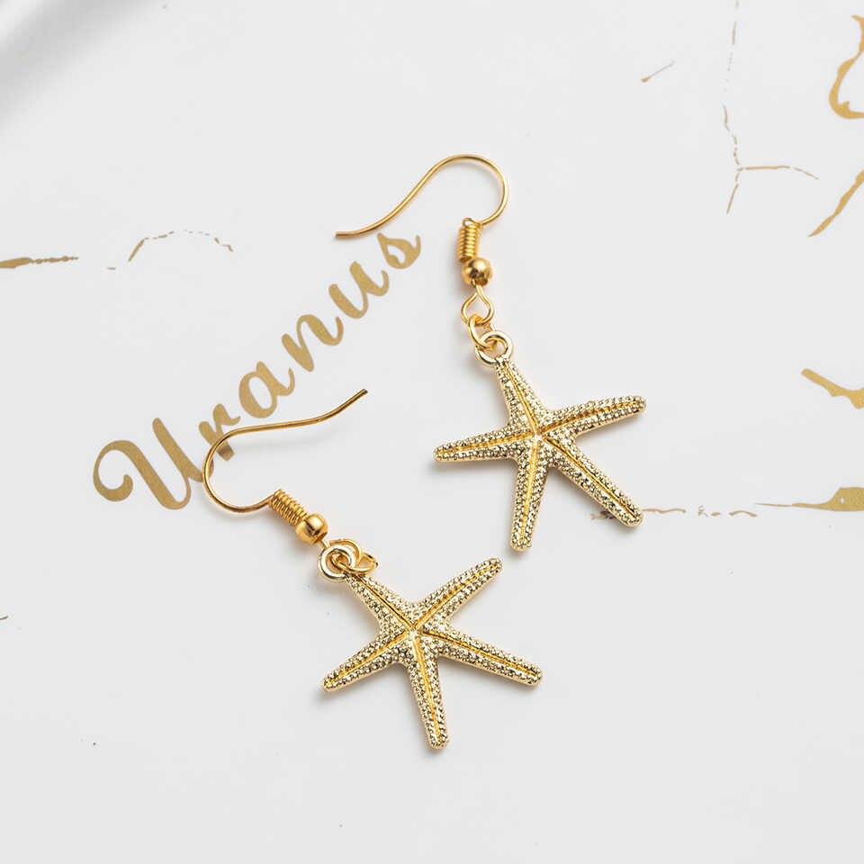 Романтическая Милая Золотая звезда серьги формы длинные висячие серьги украшения для женщин и девочек аксессуары для свадьбы, помолвки