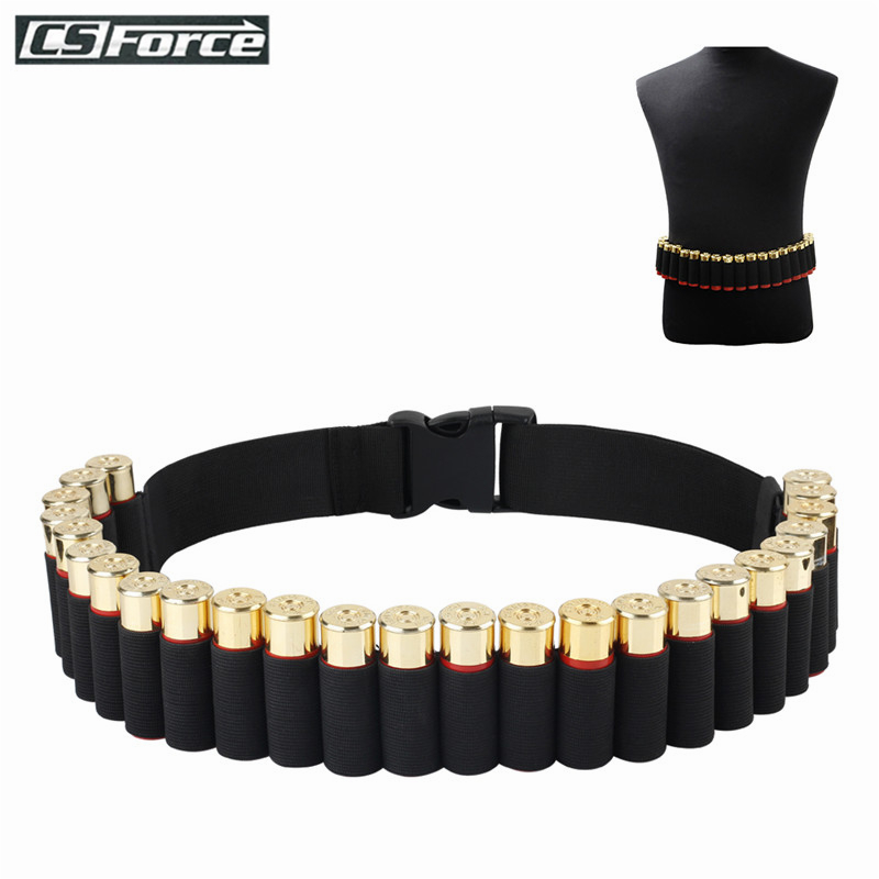 140*5CM Bandolier Belt 25 Rounds Shell Holder Airsoft Hunting Tactical 12 Gauge Ammo Holder Military Shotgun Cartridge Belt