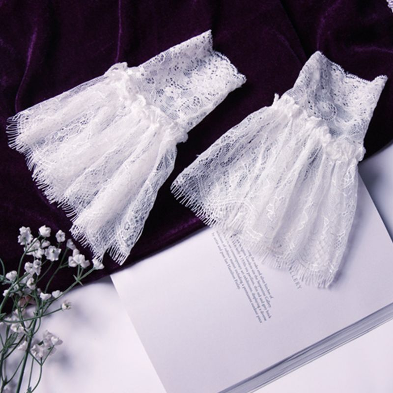 Womens Horn Cuffs Fake Sleeves Crochet Hollow Out Eyelash Floral Lace Autumn Winter Solid Color Sweater Wrist Warmers