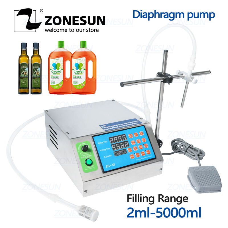ZONESUN Diaphragm Pump Bottle Alcohol Filler Semi-automatic Liquid Vial Desk-top Filling Machine For Juice Beverage Oil Perfume