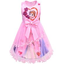 Girls Dress Summer Elsa Anna Princess Dresses Children Clothing Kids Clothes Bow Mesh Party Birthday Cute Baby Tutu Flower Dress 2019 summer new girls dress baby princess mesh dress tutu child flower vestido children clothing baby costume