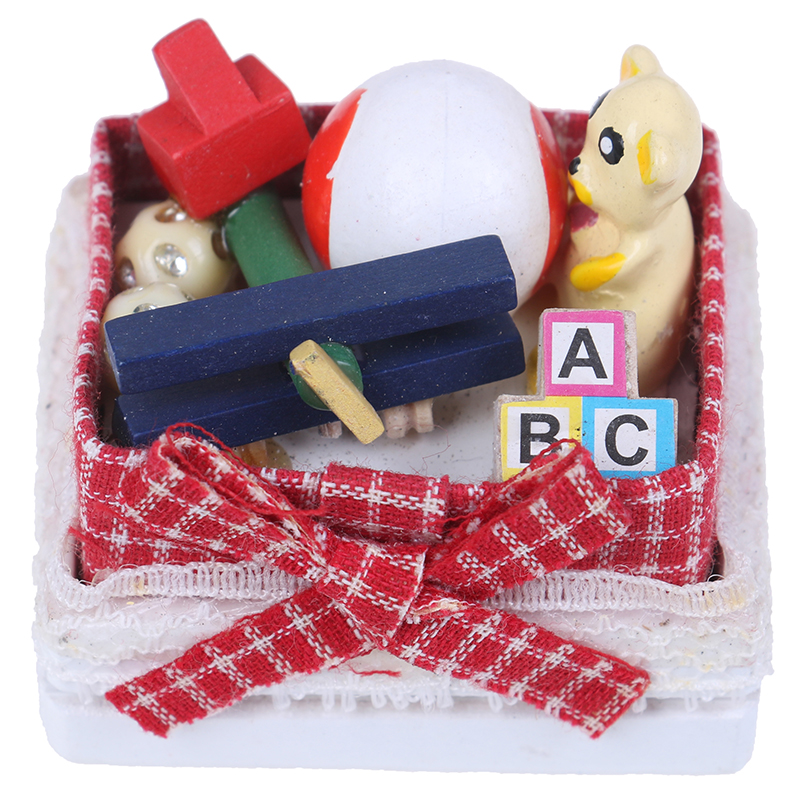 DIY 1:12 Doll house miniature bear toy box model toys for doll house decoration Table Furniture Toy Sets