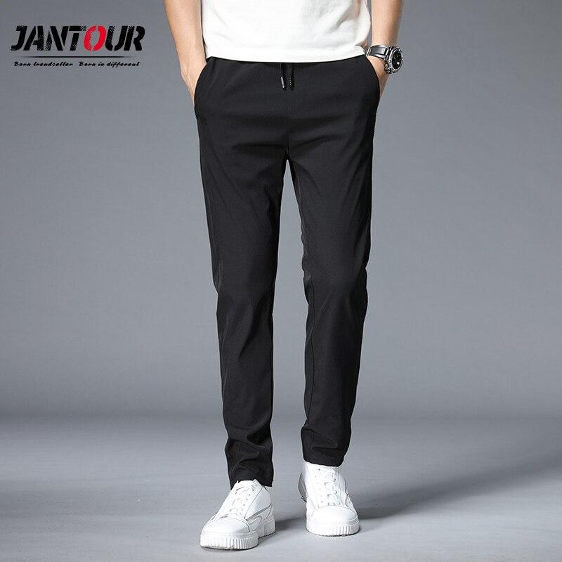 Брюки мужские повседневные деловые, классические эластичные длинные модные дышащие штаны с кружевной талией, черные Хаки
