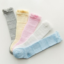 CHIC Toddler Kid Baby Girl Knee High Long Stocking Cotton Casual Stockings 0-3 TWhite Pink Grey Hollow Out Autumn Warm Soft Cozy