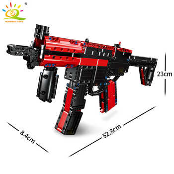 HUIQIBAO 676Pcs DIY Submachine Gun HK MP5 Building Blocks Military Technic Gun Weapon Educational Assembly Bricks Toys Children