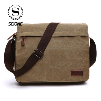 Scione Fashion Solid Canvas Messenger Satchel Bags Buckle Casual Portable Shoulder Bag Korean Trend Simple Pack For Men Women