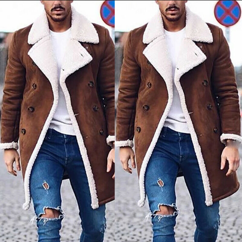 Men's Fur Fleece Fashion Trench Coat Brown Winter Fashion Overcoat Lapel Warm Fluffy Male Casual Jacket Outerwear