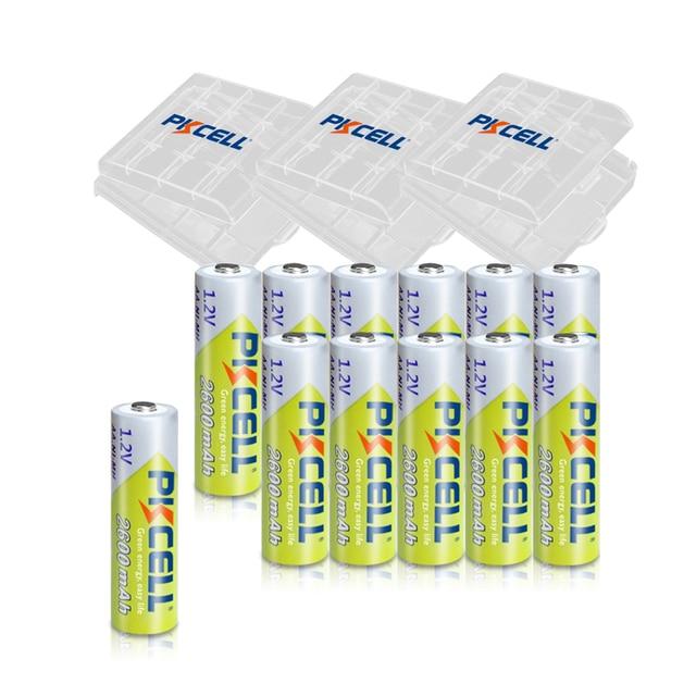 12Pcs PKCELL AA Rechargeable Battery NIMH 1.2V 2600MAH 1.2V 2A Batteries+ 3pcs Battery Boxes Holder Case
