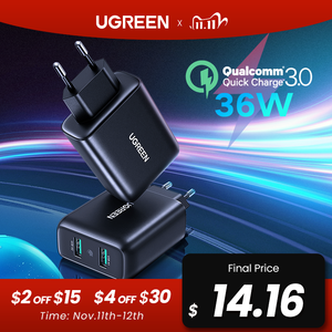 Image 1 - Ugreen USB Charger Quick Charge 3.0 36W Fast Charger Adapter QC3.0 Mobile Phone Chargers for iPhone Samsung Xiaomi Redmi Charger
