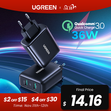 Ugreen usb充電器急速充電3.0 36ワット急速充電器アダプタQC3.0携帯電話の充電器iphoneサムスンxiaomi redmi充電器