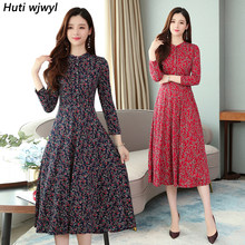 2019 Femal Vintage Red Print Strand Midi Kleid Herbst Winter 4XL Plus Größe Langarm Kleid Elegante Frauen Bodycon Party vestidos(China)